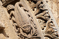 West Facade, Left Portal archivolts c. 1145. Cathedral of Chartres, France. Gothic sculpture of the archivolts on which are the Signs of the Zodiac, this one is Scorpio the crab . See Fassler, pp 507-10.. A UNESCO World Heritage Site.