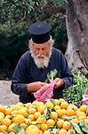 Near Polis, Priest selling oranges, Cyprus. Zypern.