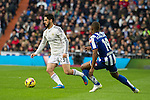 Real Madrid´s Isco and Deportivo de la Coruna's Ivan Cavaleiro during 2014-15 La Liga match between Real Madrid and Deportivo de la Coruna at Santiago Bernabeu stadium in Madrid, Spain. February 14, 2015. (ALTERPHOTOS/Luis Fernandez)