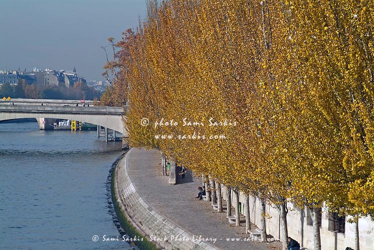 Vibrant coloured trees line the Seine during Autumn, Paris, France.