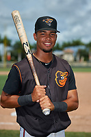 GCL Orioles Darell Hernaiz (1) poses for a photo after a Gulf Coast League game against the GCL Braves on August 5, 2019 at Ed Smith Stadium in Sarasota, Florida.  GCL Orioles defeated the GCL Braves 4-3 in the second game of a doubleheader.  (Mike Janes/Four Seam Images)