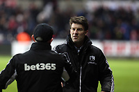 Saturday 19 January 2013<br /> Pictured: Michael Laudrup manager for Swansea (R) greets Tony Pulis (L) manager for Stoke at the end of the game<br /> Re: Barclay's Premier League, Swansea City FC v Stoke City at the Liberty Stadium, south Wales.