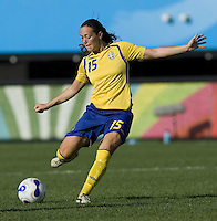 Sweden midfielder (15) Therese Sjogran. The USA defeated Sweden 2-0 during their Group B first round game at the 2007 FIFA Women's World Cup at Chengdu Sports Center Stadium in Chengdu, China on September 14, 2007.
