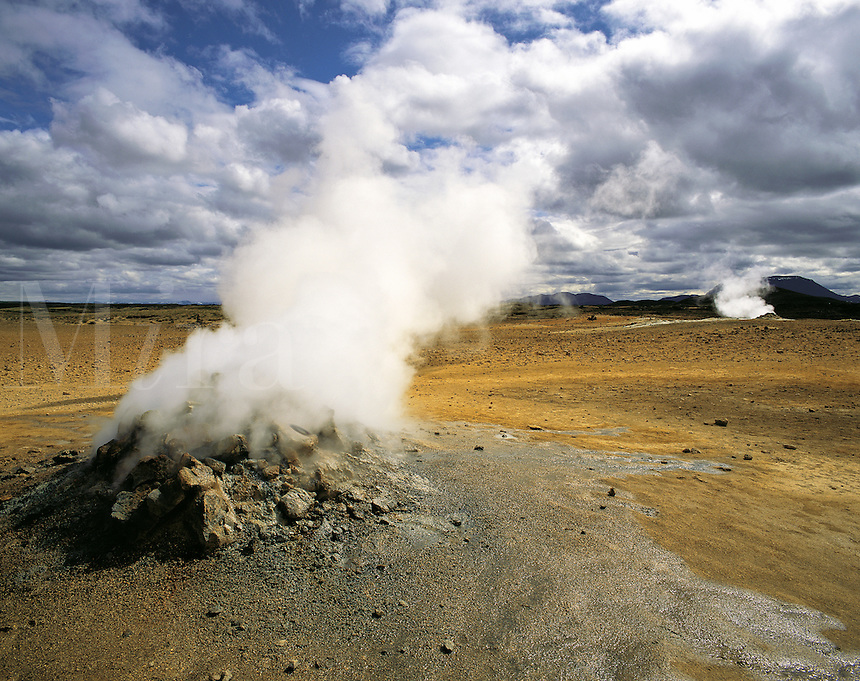 Geothermal landscape at Myvatn, northern Iceland, with smoking fumarole