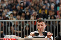 MELBOURNE, 26 MAY - Colin Harmon from Ireland competes in the final of the World Barista Championship 2013 before being announced as coming in 4th place at the Melbourne Show Grounds in Melbourne, Australia. Photo Sydney Low / syd-low.com