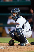 Lakeland Flying Tigers catcher Andres Sthormes (37) during the second game of a doubleheader against the Bradenton Marauders on April 11, 2018 at Publix Field at Joker Marchant Stadium in Lakeland, Florida.  Bradenton defeated Lakeland 1-0.  (Mike Janes/Four Seam Images)