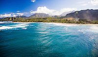 Aerial view of Haena Beach on the north shore of Kauai