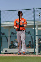 Baltimore Orioles Robert Neustrom (30) bats during a Minor League Spring Training game against the Pittsburgh Pirates on April 21, 2021 at Pirate City in Bradenton, Florida.  (Mike Janes/Four Seam Images)