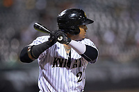 Yermin Mercedes (27) of the Charlotte Knights at bat against the Durham Bulls at BB&T BallPark on July 31, 2019 in Charlotte, North Carolina. The Knights defeated the Bulls 9-6. (Brian Westerholt/Four Seam Images)