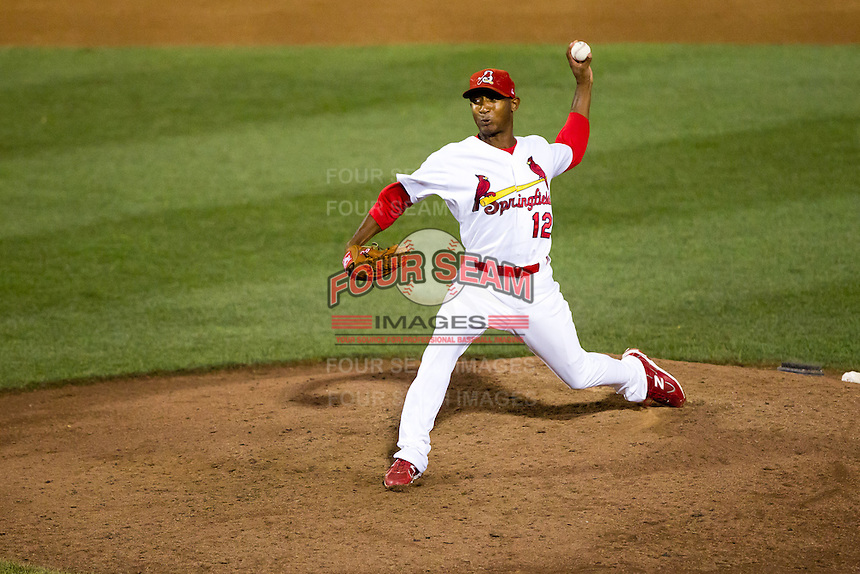 Samuel Freeman (12) of the Springfield Cardinals delivers a pitch during a game against the Tulsa Drillers at Hammons Field on July 19, 2011 in Springfield, Missouri. Tulsa defeated Springfield 17-11. (David Welker / Four Seam Images)