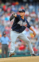 25 September 2011: Atlanta Braves pitcher Mike Minor on the mound against the Washington Nationals at Nationals Park in Washington, DC. The Nationals shut out the Braves 3-0 to take the rubber match third game of their 3-game series - the Nationals' final home game for the 2011 season. Mandatory Credit: Ed Wolfstein Photo