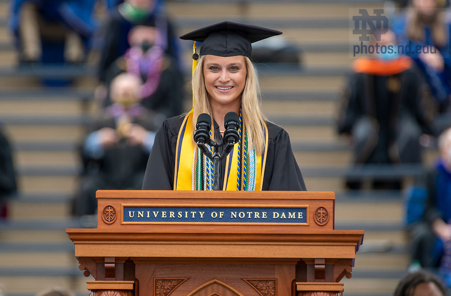 May 23, 2021; Valedictorian Madeline Owen delivers her address during the 176th Commencement Ceremony at Notre Dame Stadium. (Photo by Barbara Johnston/University of Notre Dame)