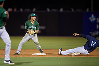 Daytona Tortugas second baseman Yonathan Mendoza (7) looks to first after forcing Wendell Rijo (12) out during a Florida State League game against the Tampa Tarpons on May 17, 2019 at George M. Steinbrenner Field in Tampa, Florida.  Daytona defeated Tampa 8-6.  (Mike Janes/Four Seam Images)