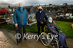 Danny and Aileen McElligott with Cllr Johnny Wall in Rath Graveyard as they highlight the cars parking in the graveyard are impeding wheelchair user