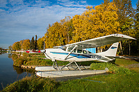 Fall colors on Lake Hood in Anchorage, the world's busiest seaplane base.