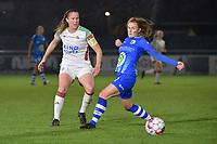 OHL's Lenie Onzia (L) and Gent's Emma Van Britsom (R) pictured during a female soccer game between  AA Gent Ladies and Oud Heverlee Leuven on the 9th matchday of the 2020 - 2021 season of Belgian Scooore Womens Super League , friday 11 th of December 2020  in Oostakker , Belgium . PHOTO SPORTPIX.BE | SPP | DIRK VUYLSTEKE