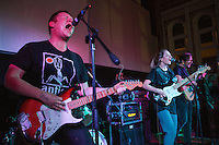 08 APR 2016 - STOWMARKET, GBR - Ben Brown (left) of vocals and lead guitar for Superglu with Ben Ward (hidden), Krista Lynch and Alex Brown, during a recording for BBC Introducing at the John Peel Centre for Creative Arts in Stowmarket, Suffolk, Great Britain (PHOTO COPYRIGHT © 2016 NIGEL FARROW, ALL RIGHTS RESERVED)