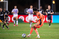 LAKE BUENA VISTA, FL - JULY 20: Pedro Gallese #1 of Orlando City SC kicks the ball during a game between Orlando City SC and Philadelphia Union at Wide World of Sports on July 20, 2020 in Lake Buena Vista, Florida.
