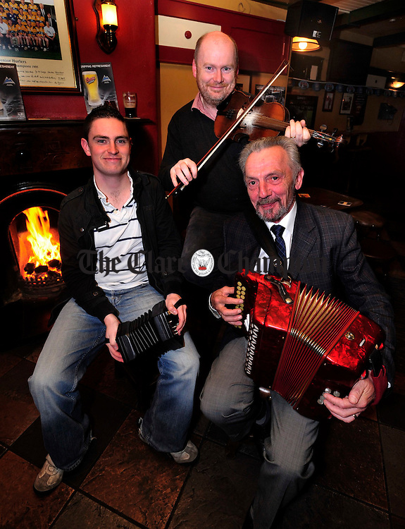 Musician Jack Talty, Ennis Trad Festival P.R.O Kevin Finucane and Festival Director Mike Butler pictured at the Launch of this year's festival. Photograph by Declan Monaghan