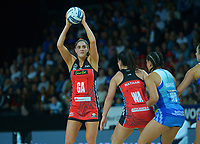Tactix' Te Paea Selby-Rickit looks for support during the ANZ Premiership netball final between Northern Mystics and Mainland Tactix at Spark Arena in Auckland, New Zealand on Sunday, 8 August 2021. Photo: Dave Lintott / lintottphoto.co.nz