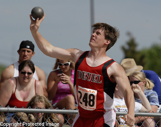 Inertia Photo/Dick Kettlewell:  Logan DeBoer of Deuel -- shot put