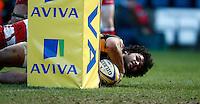 Photo: Richard Lane/Richard Lane Photography. London Wasps v Gloucester Rugby. Aviva Premiership. 17/02/2013. Wasps' Billy Vunipola scores a try.