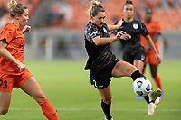 HOUSTON, TX - SEPTEMBER 10: Kealia Watt #2 of the Chicago Red Stars attempts to gain control of a loose ball in front of Abby Dahlkemper #23 of the Houston Dash during a game between Chicago Red Stars and Houston Dash at BBVA Stadium on September 10, 2021 in Houston, Texas.