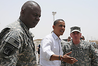 Sen. Barack Obama speaks with U.S. Army Gen. David H. Petraeus, right, commander of Multi-National Force .<br /> <br />  Barack Obama,<br /> (born August 4, 1961) is the junior United States Senator from Illinois. He is the presumptive nominee of the Democratic Party in the 2008 presidential election, and the first African American to be a major party's presumptive nominee for President of the United States.
