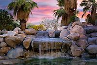 Waterfalls in Faye Sarkowsky Sculpture Garden. Palm Desert, California