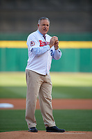 Scott Levin throws out a ceremonial first pitch before a Buffalo Bisons game against the Pawtucket Red Sox on May 19, 2017 at Coca-Cola Field in Buffalo, New York.  Buffalo defeated Pawtucket 7-5 in thirteen innings.  (Mike Janes/Four Seam Images)