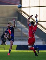9th September 2020; AJ Bell Stadium, Salford, Lancashire, England; English Premiership Rugby, Sale Sharks versus Sracens; Calum Clark of Saracens attempts to block a kick by Robert du Preez of Sale Sharks