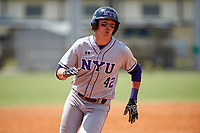 New York University Violets right fielder Coltrane Tait (42) running the bases during a game against the Edgewood Eagles on March 14, 2017 at Terry Park in Fort Myers, Florida.  NYU defeated Edgewood 12-7.  (Mike Janes/Four Seam Images)