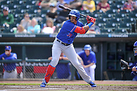 Round Rock Express first baseman Ronald Guzman (31) in action during a game against the Iowa Cubs at Principal Park on April 16, 2017 in Des  Moines, Iowa.  The Cubs won 6-3.  (Dennis Hubbard/Four Seam Images)