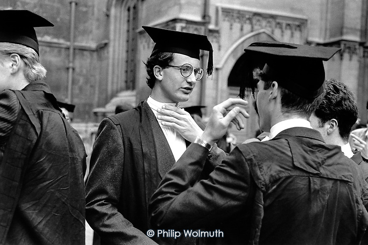 First year undergraduates at Oxford University after matriculation at the Sheldonian Theatre.