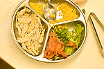 Education preschoool children ages 3-5 meal time lunch balanced healthy meal in serviing dish chicken cheese vegetables brocolli and tomato horizontal