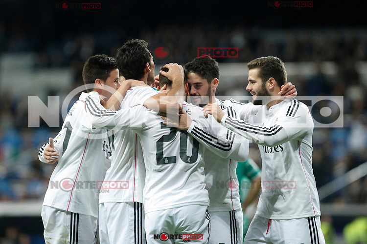 Real Madrid´s Jese Rodriguez celebrates a goal with his team mates during Spanish King Cup match between Real Madrid and Cornella at Santiago Bernabeu stadium in Madrid, Spain.December 2, 2014. (NortePhoto/ALTERPHOTOS/Victor Blanco)