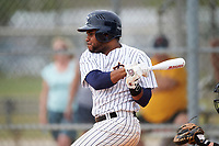 Western Connecticut Colonials second baseman Stanly Rijo (1) at bat during the second game of a doubleheader against the Edgewood College Eagles on March 13, 2017 at the Lee County Player Development Complex in Fort Myers, Florida.  Edgewood defeated Western Connecticut 3-1.  (Mike Janes/Four Seam Images)