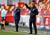 20th March 2021; Brentford Community Stadium, London, England; English Football League Championship Football, Brentford FC versus Nottingham Forest; Brentford Manager Thomas Frank shouting instructions to his players from the touchline