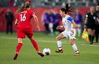 CARSON, CA - FEBRUARY 07: Lixy Rodriguez #12 of Costa Rica moves with the ball during a game between Canada and Costa Rica at Dignity Health Sports Complex on February 07, 2020 in Carson, California.