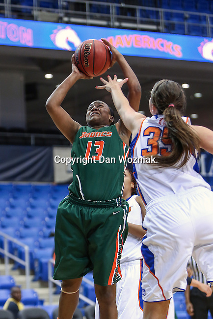 Texas Pan American Lady Broncs guard/forward Joyea Marshall (13) in action during the game between the Texas Pan American Lady Broncs  and the Texas Arlington Mavericks at the College Park Center arena in Arlington, Texas. UTPA defeats UTA 59 to 57....