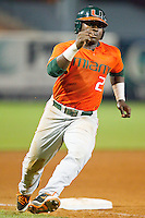 Chantz Mack #2 of the Miami Hurricanes rounds third base during the game against the Wake Forest Demon Deacons at NewBridge Bank Park on May 25, 2012 in Winston-Salem, North Carolina.  The Hurricanes defeated the Demon Deacons 6-3.  (Brian Westerholt/Four Seam Images)