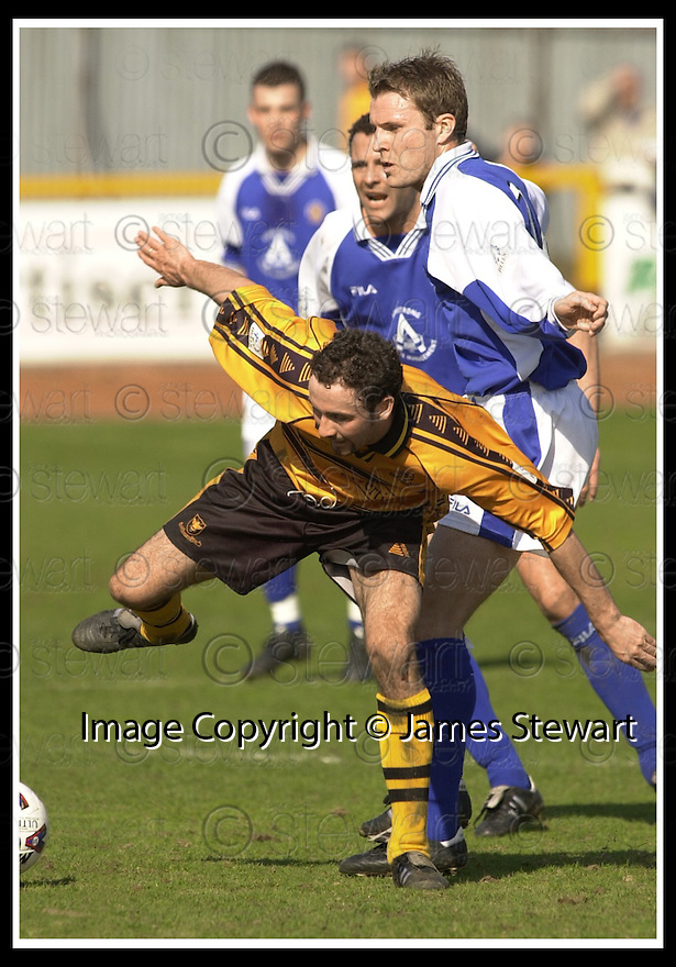 06/04/2002                 Copyright Pic : James Stewart .Ref :     .File Name : stewart-alloa v qos   18.ALLOA'S ROSS HAMILTON AND ALAN GRAY CHALLENGE FOR THE BALL... .James Stewart Photo Agency, 19 Carronlea Drive, Falkirk. FK2 8DN      Vat Reg No. 607 6932 25.Office     : +44 (0)1324 570906     .Mobile  : + 44 (0)7721 416997.Fax         :  +44 (0)1324 630007.E-mail  :  jim@jspa.co.uk.If you require further information then contact Jim Stewart on any of the numbers above.........