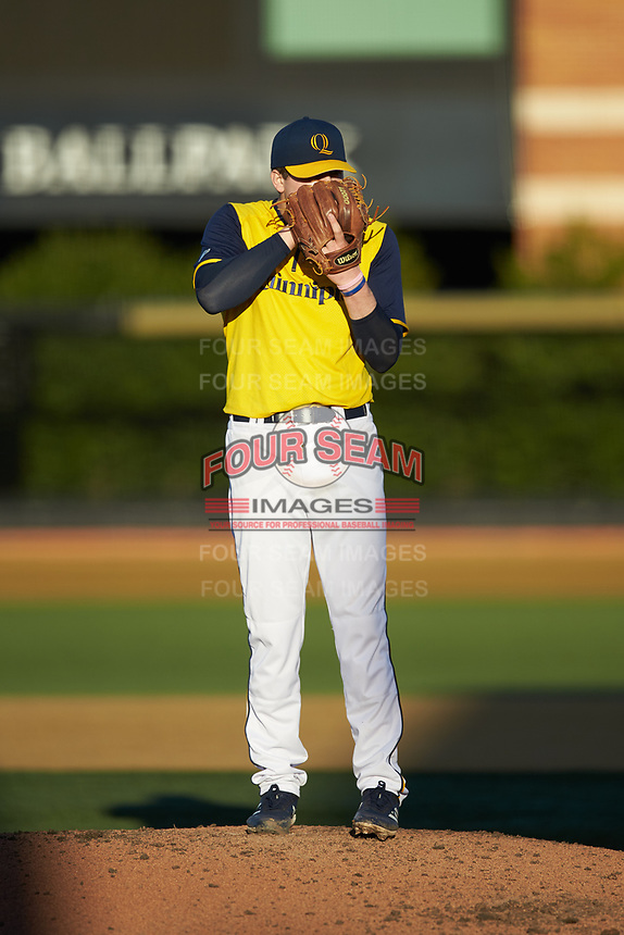 Quinnipiac Bobcats starting pitcher Arthur Correira looks to his catcher for the sign against the Elon Phoenix at David F. Couch Ballpark on February 24, 2019 in  Winston-Salem, North Carolina. (Brian Westerholt/Four Seam Images)