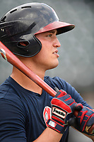Catcher Hagen Owenby (46) of the Rome Braves takes batting practice before a game against the Columbia Fireflies on Tuesday, June 4, 2019, at Segra Park in Columbia, South Carolina. Columbia won, 3-2. (Tom Priddy/Four Seam Images)