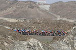 The peloton in action during Stage 2 the Dubai Municipality Stage of the UAE Tour 2020 running 168km from Hatta to Hatta Dam, Dubai. 24th February 2020.<br /> Picture: LaPresse/Fabio Ferrari   Cyclefile<br /> <br /> All photos usage must carry mandatory copyright credit (© Cyclefile   LaPresse/Fabio Ferrari)
