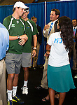 Bob and Mike Bryan meet and greet fans at the Freedoms vs. Explorers WTT match in Villanova, PA on July 16, 2012