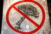 Corcovado National Park, Costa Rica. Sign with picture; felling of trees is not allowed.