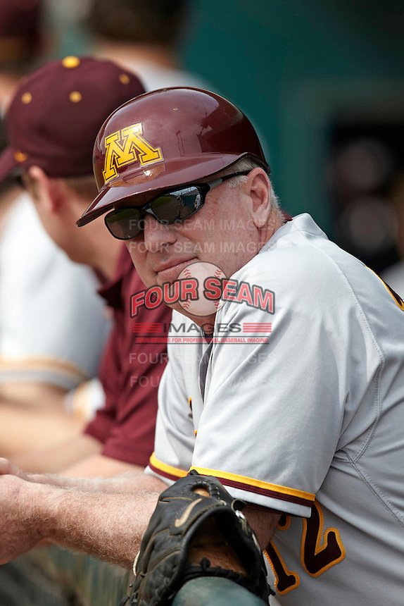 Minnesota Gophers assistant coach Rob Fornasiere #12 in the dugout during a game against the USF Bulls at the Big Ten/Big East Challenge at Al Lang Stadium on February 19, 2012 in St. Petersburg, Florida.  (Mike Janes/Four Seam Images)