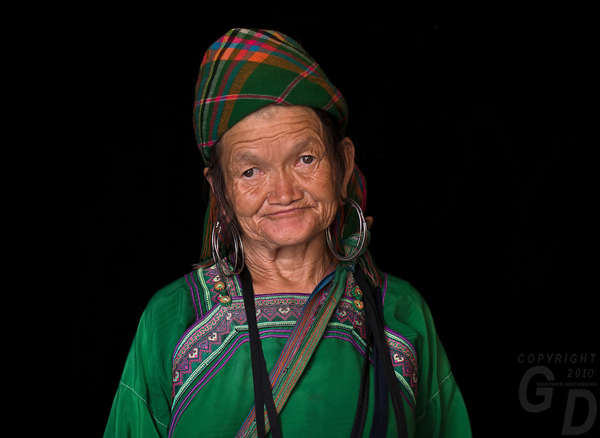 Portraits of the ethnic minority hill tribe people from northern Vietnam, Dzay and the Black H'mong.