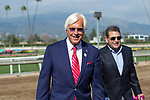 ARCADIA, CA  APRIL 7: Trainer Bob Baffert and Assistant Trainer Jimmy Barnes are all smiles after their lightly raced colt #6 Justify, ridden by Mike Smith,  wins the Santa Anita Derby (Grade l) on April 7, 2018, at Santa Anita Park in Arcadia, Ca.  (Photo by Casey Phillips/ Eclipse Sportswire/ Getty Images)